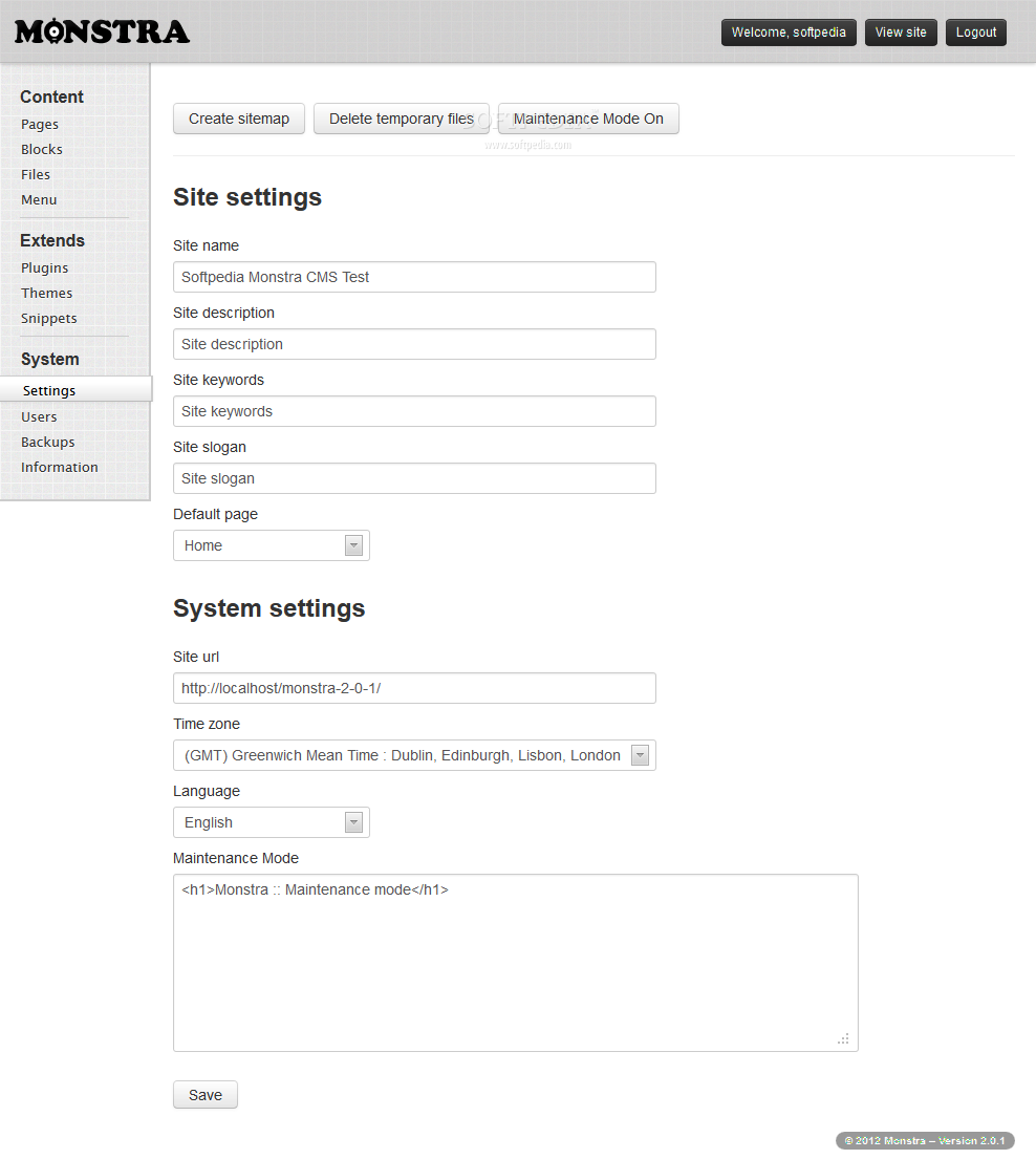 Monstra CMS screenshot 12