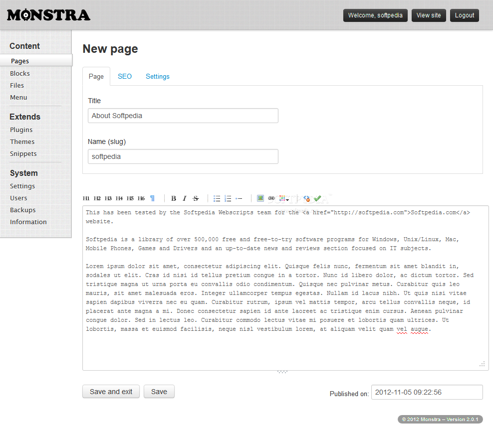 Monstra CMS - Editing a site page