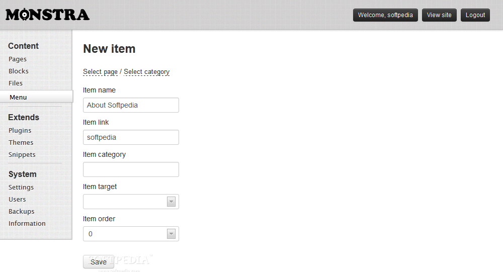 Monstra CMS screenshot 7