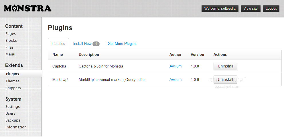 Monstra CMS - Plugin manager