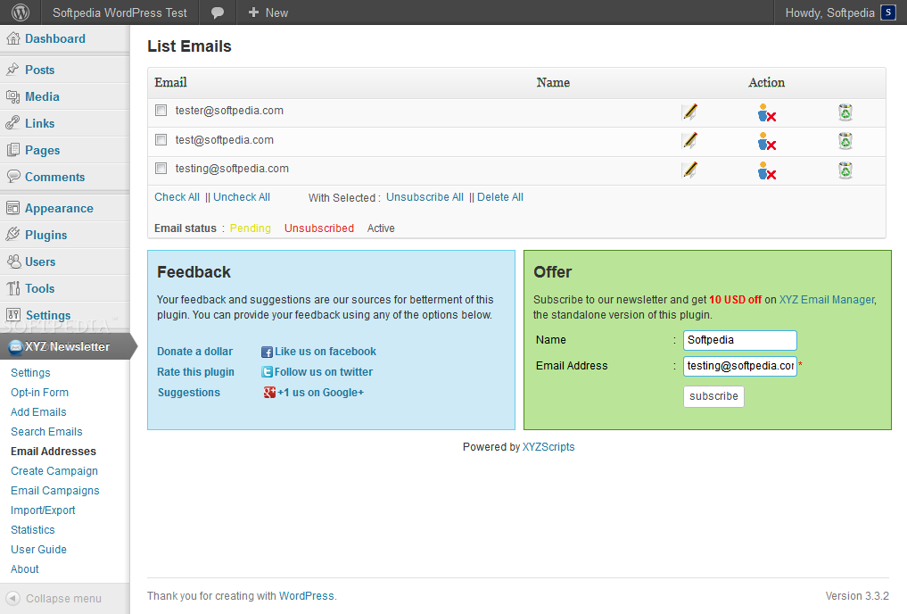 Newsletter Manager (WordPress) screenshot 5