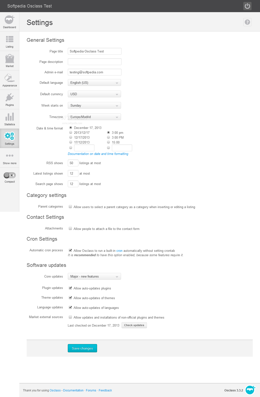 OSClass - Various tweaks can be made to the classified ads system via the OSClass settings page