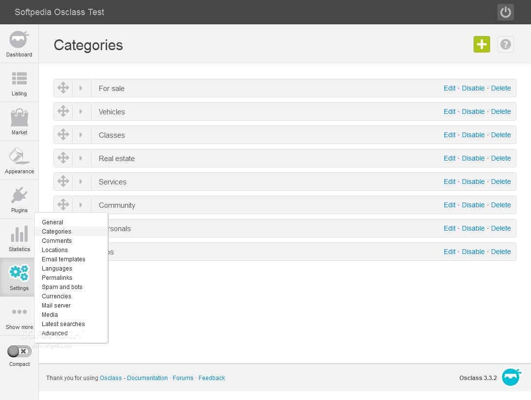 OSClass - The categories can also be managed from the OSClass Settings section