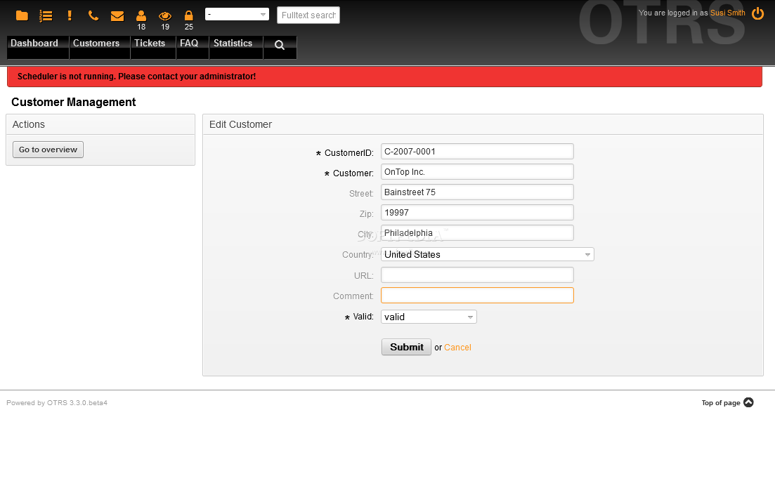 OTRS - Customers can also be organized in companies