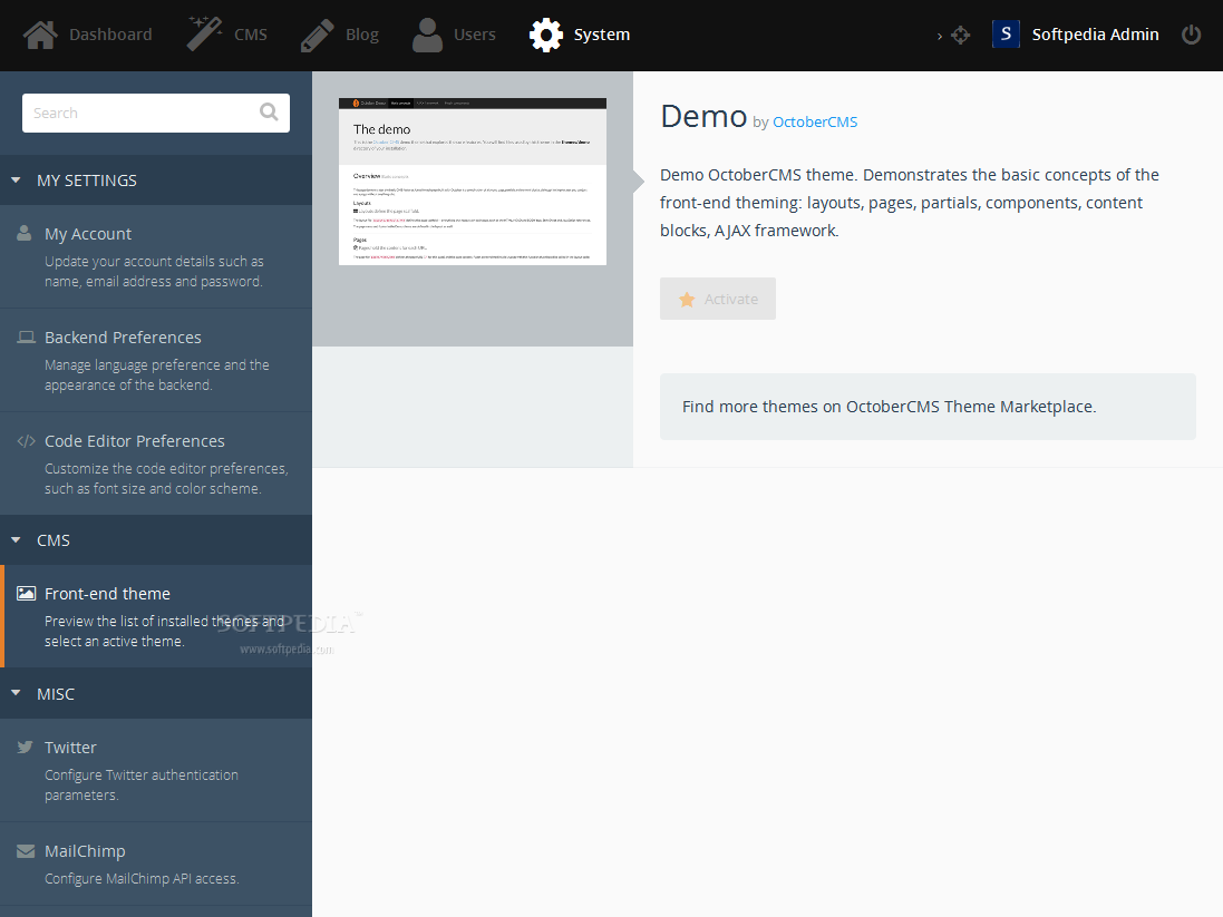 October CMS - October CMS also supports front-end themes