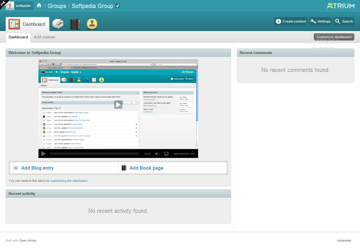 Open Atrium - A special dashboard is provided for each added group