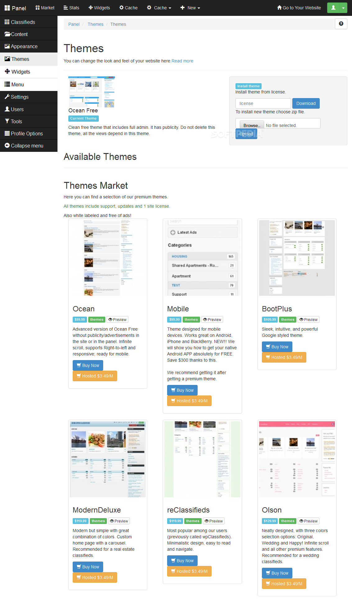 Open Classifieds - The Open Classifieds frontend can be customized via themes, widgets, and a menu manager