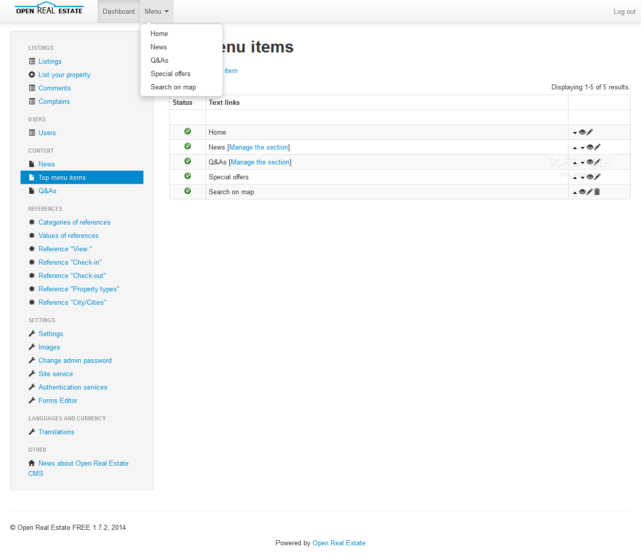 Open Real Estate - The admin menu is also editable inside the Open Real Estate backend
