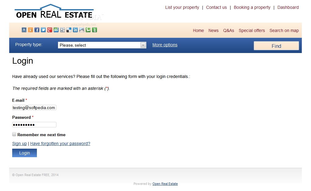 Open Real Estate - Users can easily login into their accounts or on the administration panel