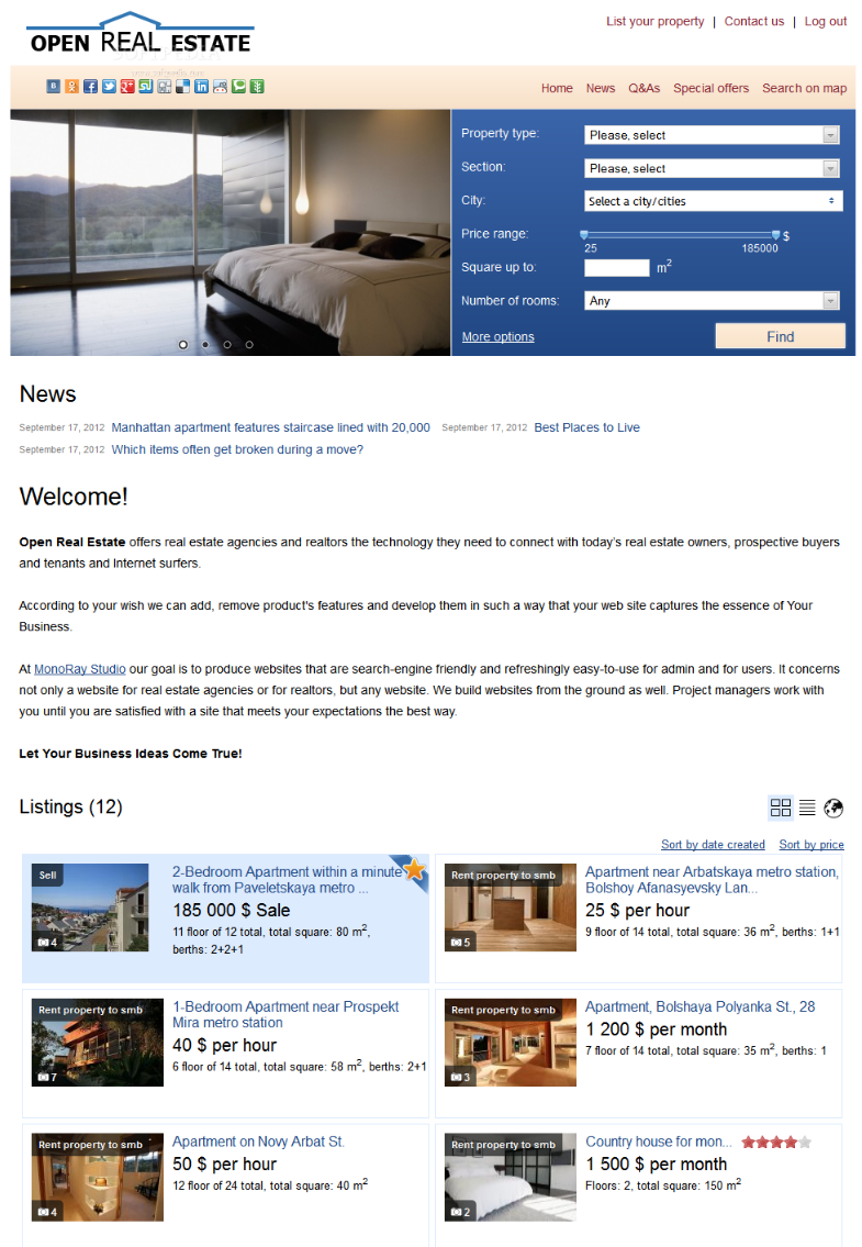 Open Real Estate - The Open Real Estate frontend is what all users will see when first loading the portal
