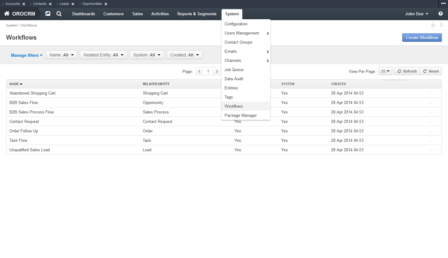 OroCRM - Worklows, tasks, and operations can be managed via the OroCRM backend