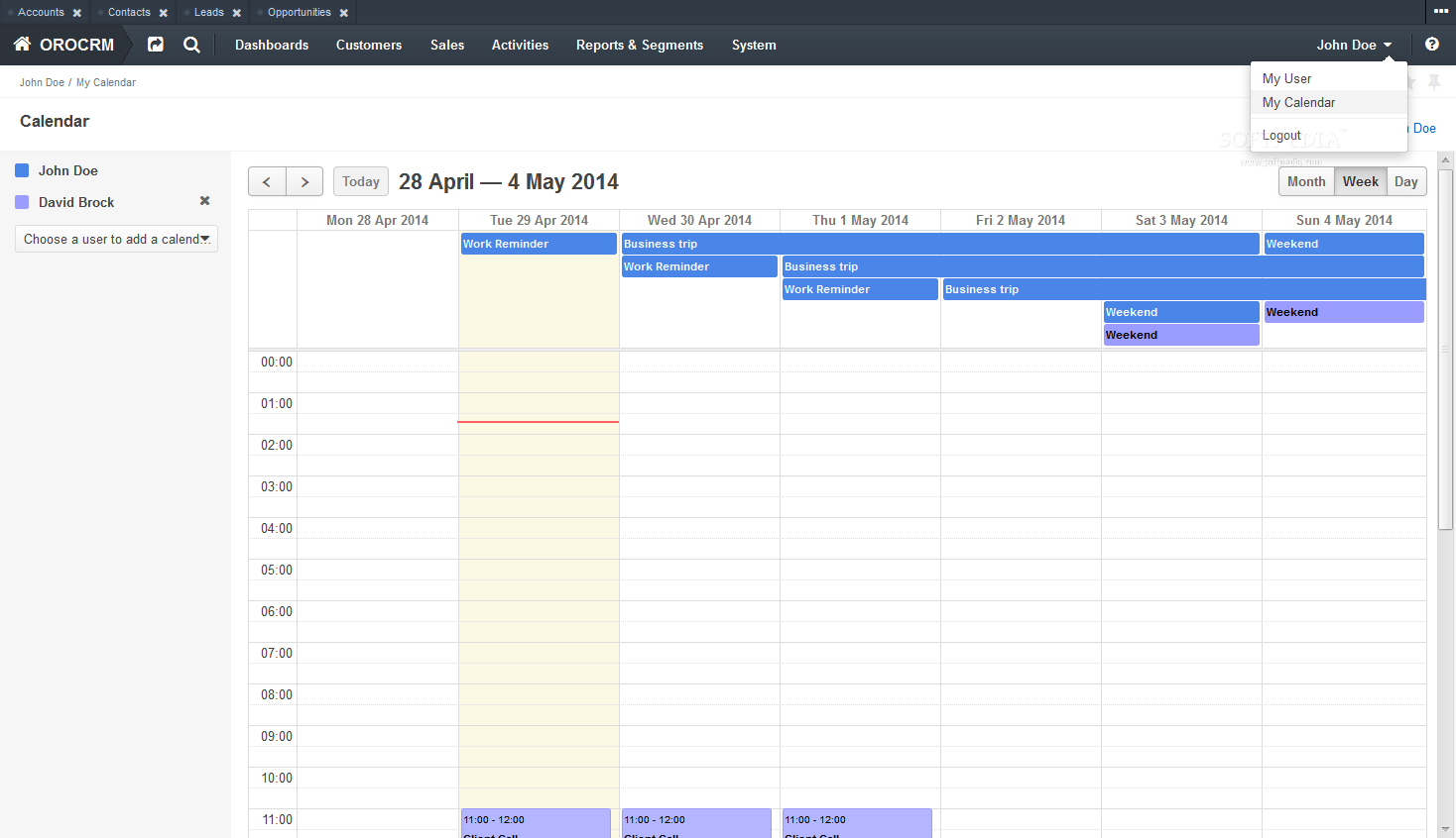 OroCRM - A built-in calendar will help users organize their daily and monthly activities