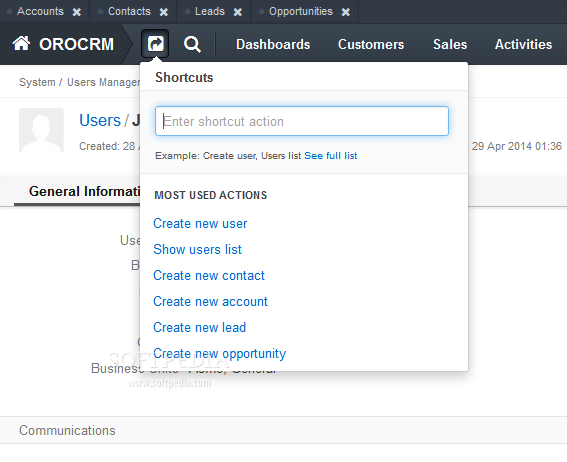 OroCRM - Lots of shortcuts and menu helpers are included in the OroCRM admin dashboard UI