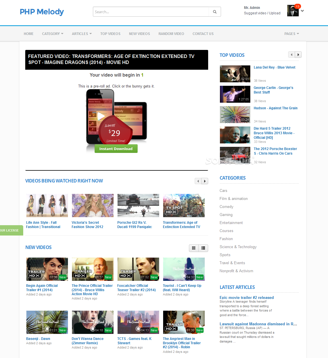 PHP Melody - The PHP Melody frontend looks like a classic video sharing portal