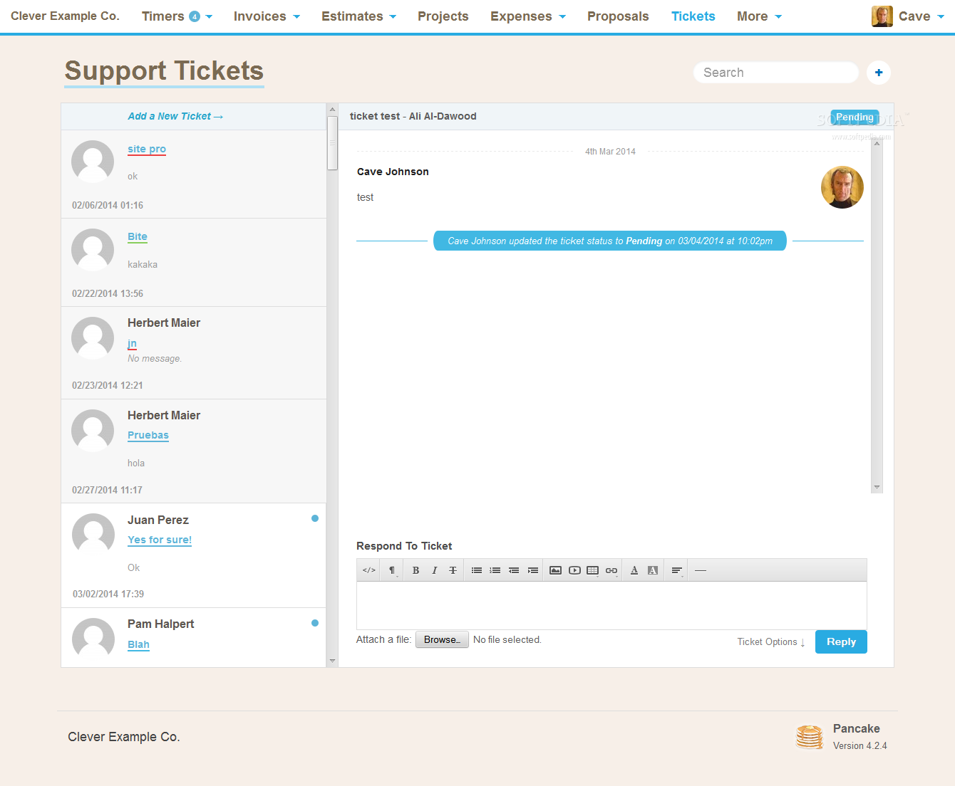 Pancake - Customers can also issue support tickets for their applications