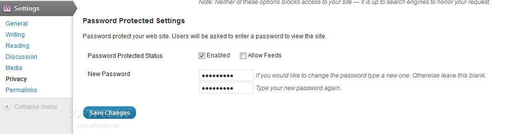 Password Protected - Plugin settings page