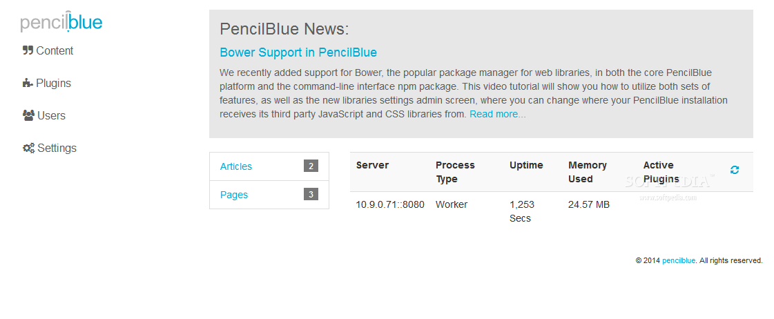 PencilBlue - The first thing a PencilBlue admin sees is the site's dashboard