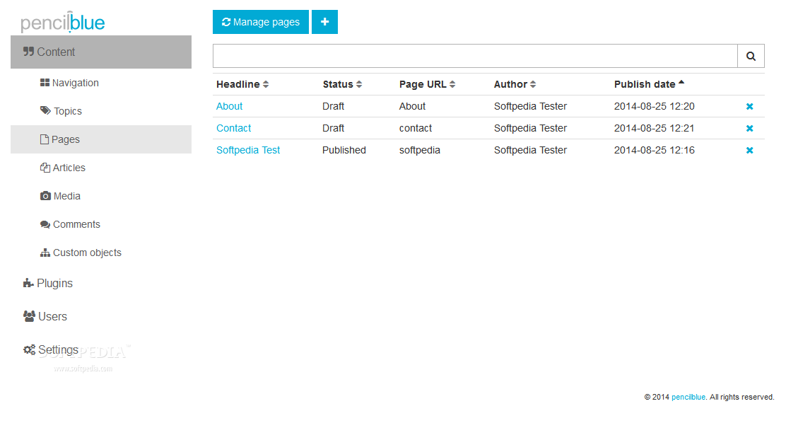 PencilBlue - PencilBlue also comes with a simple page management section included as well