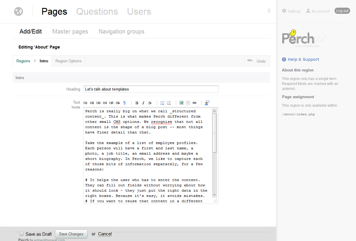 Perch - The Perch CMS features an easy to use WYSIWYG editing experience