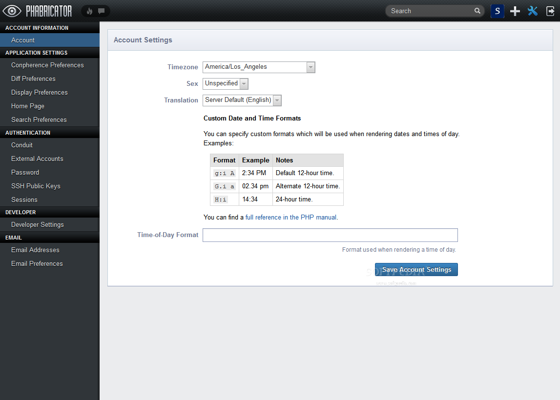 Phabricator - A settings panel is also included with a Phabricator account