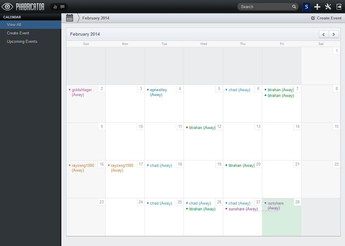Phabricator - A calendar and event management module is also packed in Phabricator