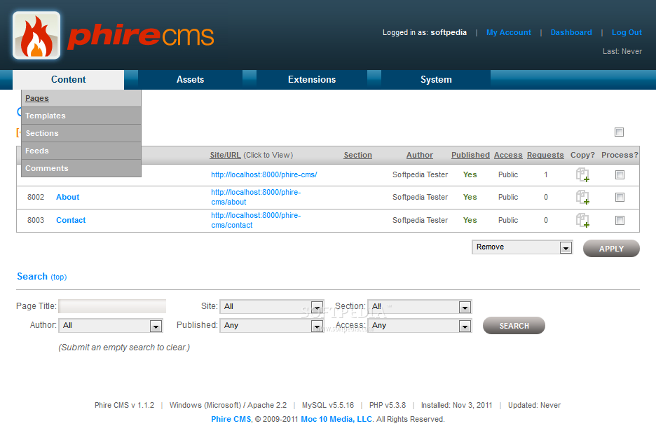 Phire CMS - The page manager provides an overview of all active pages