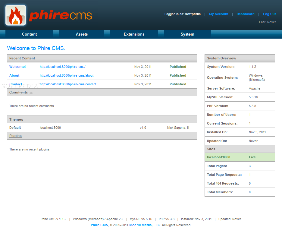 Phire CMS - The Phire CMS admin dashboard provides a summary of all recent actions