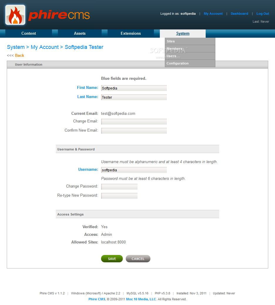 Phire CMS - Each admin user can edit his own account's details