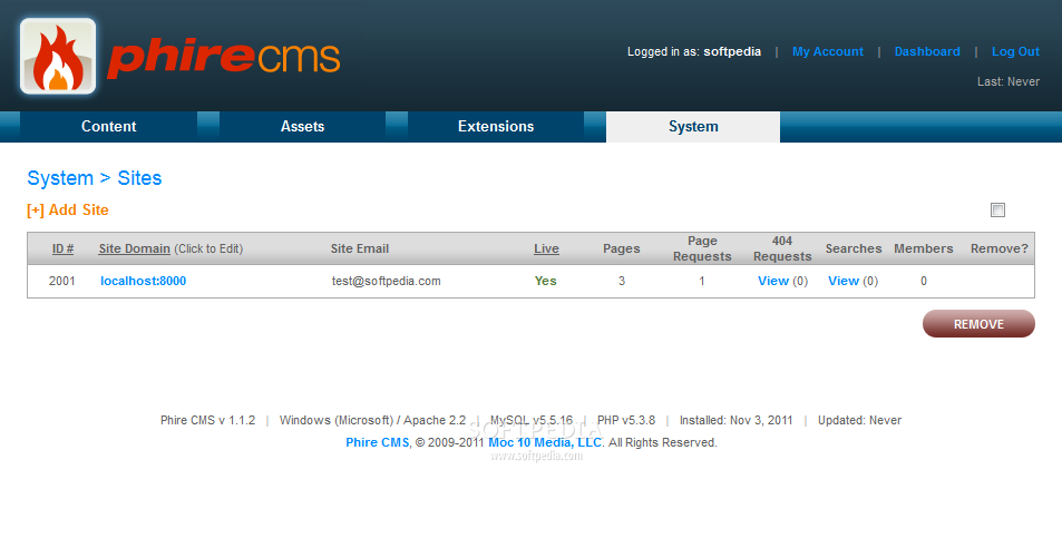 Phire CMS - Multi-site support is also included with every Phire CMS installation