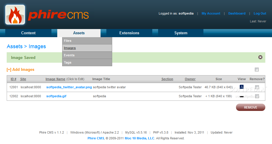 Phire CMS - An image and file manager helps administrators manage the site's multimedia library