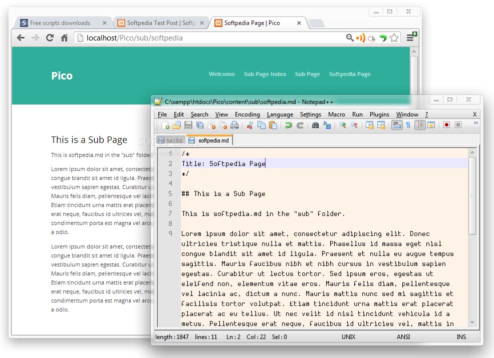 Pico - Pico is a PHP and Markdown powered content management system for easily building websites