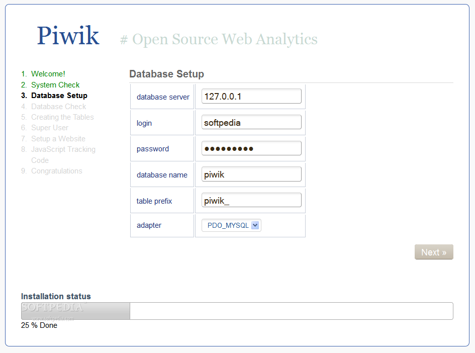 Piwik - To help users out, an installation wizard is packed with Piwik