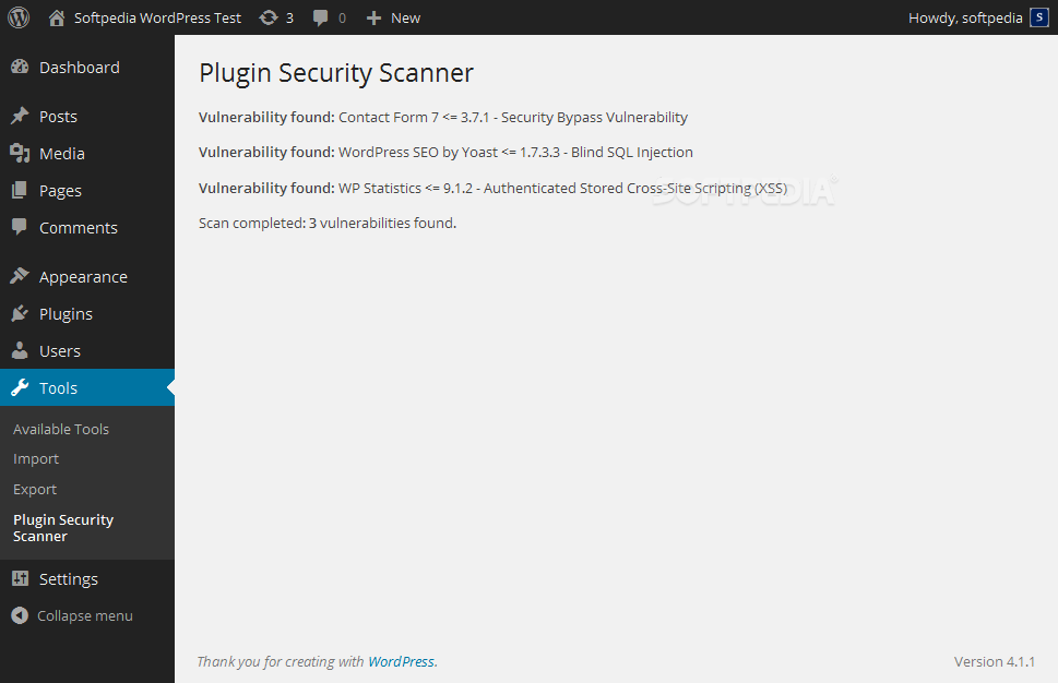 Plugin Security Scanner - Plugin Security Scanner shows a summary of all vulnerable plugins installed on the site
