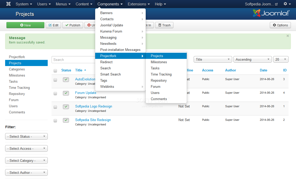 Projectfork - Projectfork is a Joomla module for managing projects in the site's backend and frontend