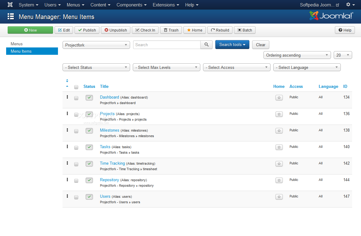 Projectfork - Projectfork will automatically add his own menu to Joomla's menu management feature