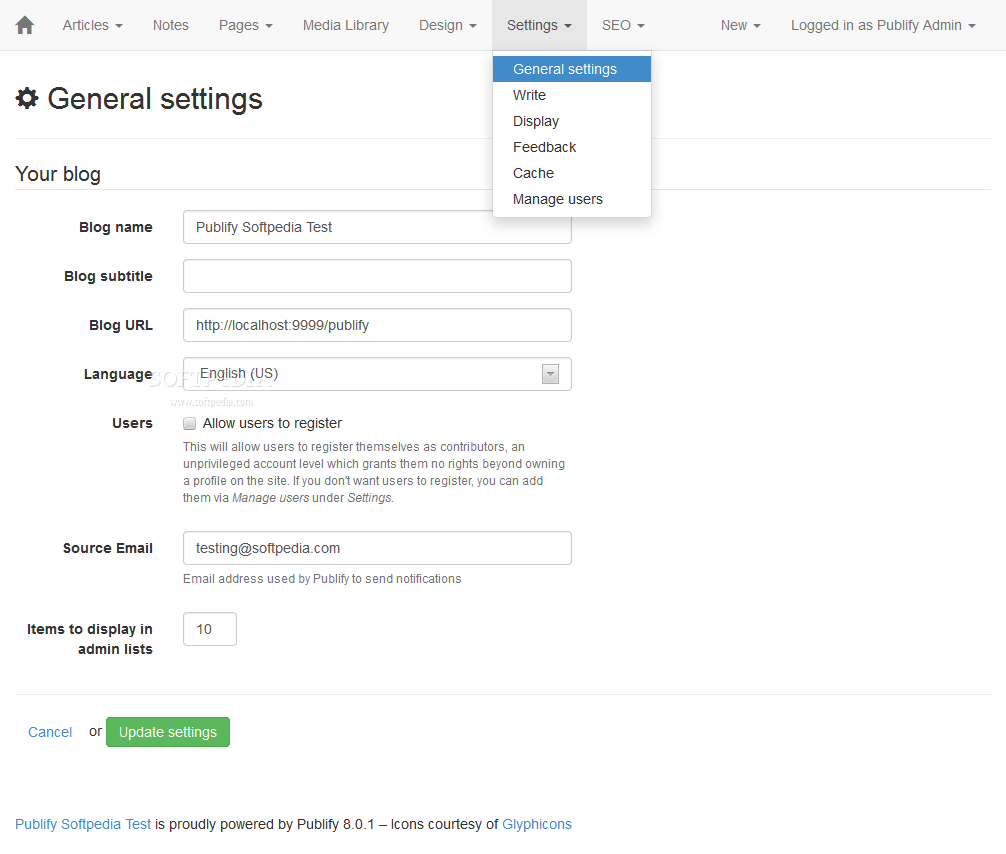 Publify - Various CMS and blogging settings can be tweaked in the backend when needing a customized Publify installation