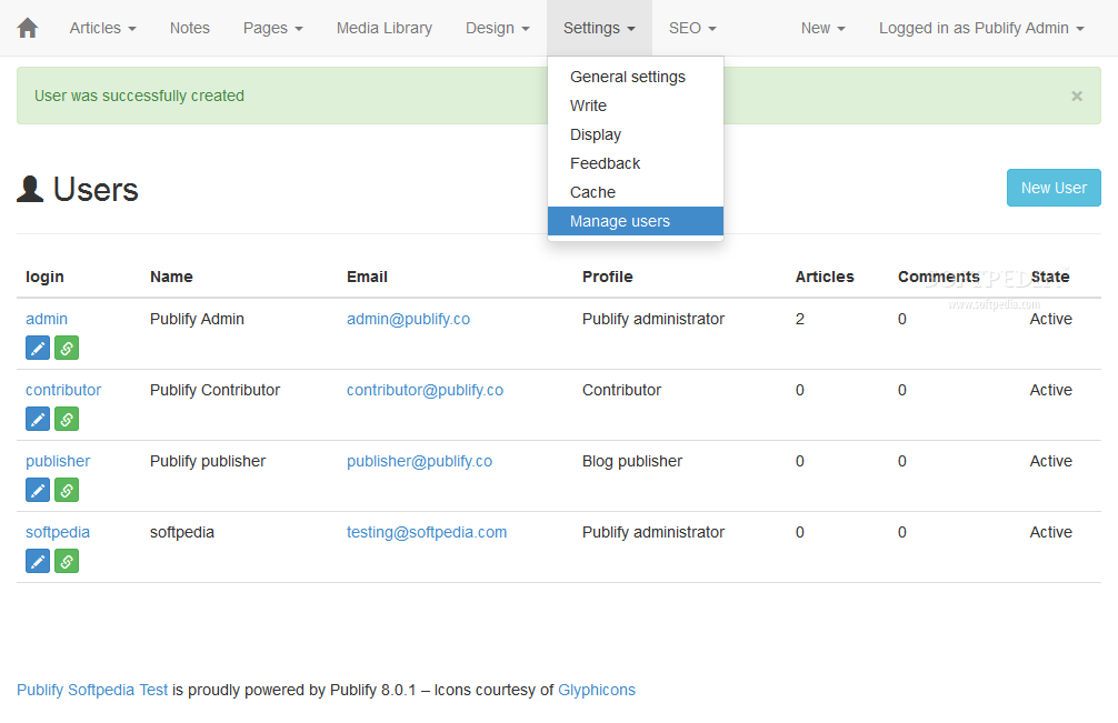 Publify - User accounts can be added and managed via the Publify backend