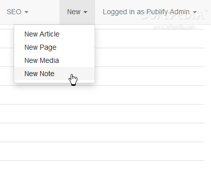 Publify - Quick shortcut menus are included within the Publify administration panel