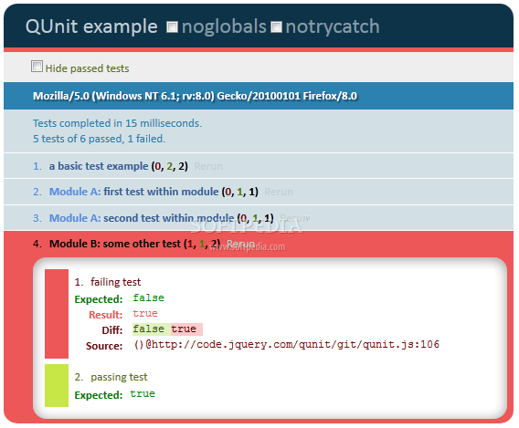 QUnit - QUnit test results provide details about a code's complaincy with various standards and best practices