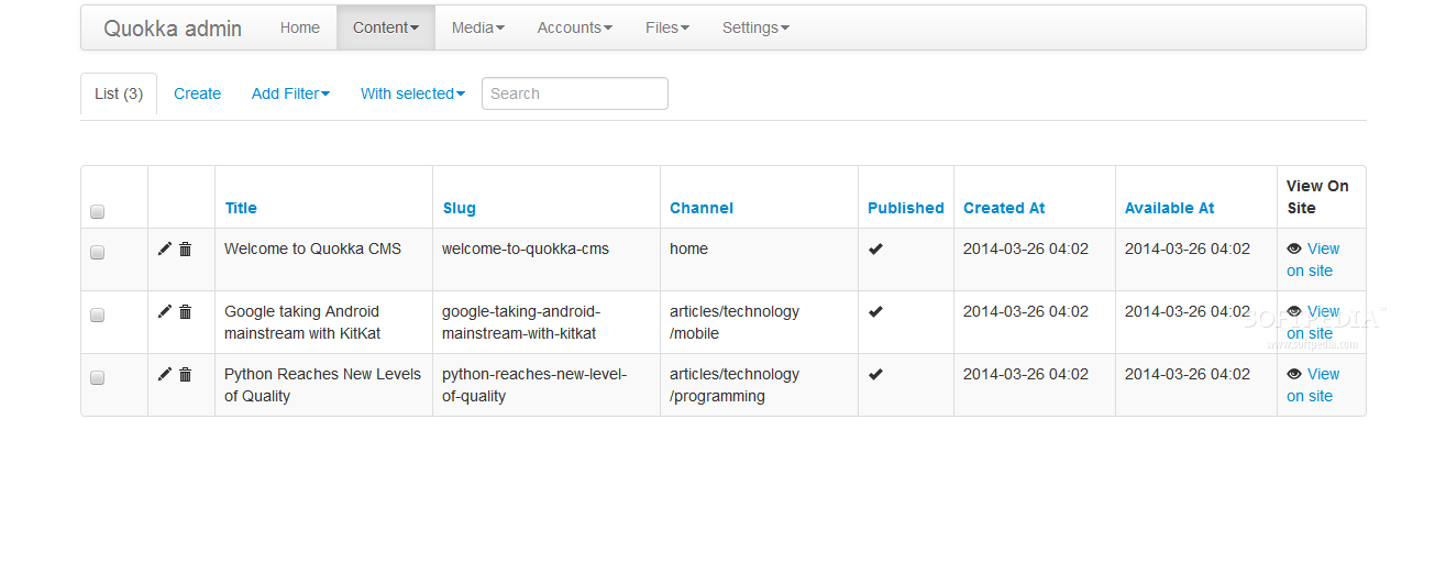 Quokka CMS - In the backend, admins can manage pages, comments, files, content types and so on