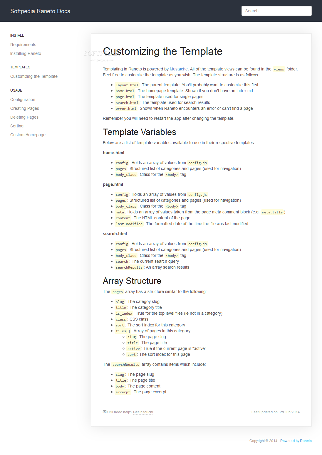 Raneto - Pages include support for syntax highlighting and a clear-cut layout