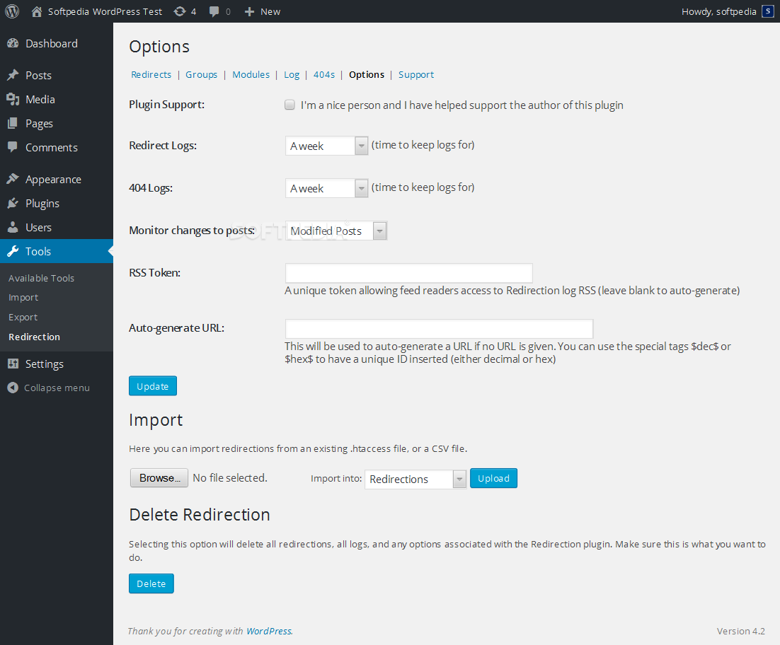 Redirection - A settings page is provided for fine-tuning the redirection actions