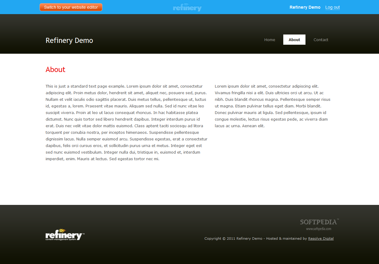 Refinery CMS - Website main page