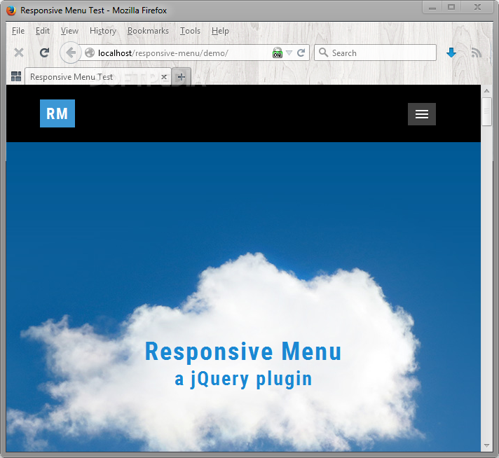 Responsive Menu - ... unless the user resizes the browser window to mobile-like dimensions