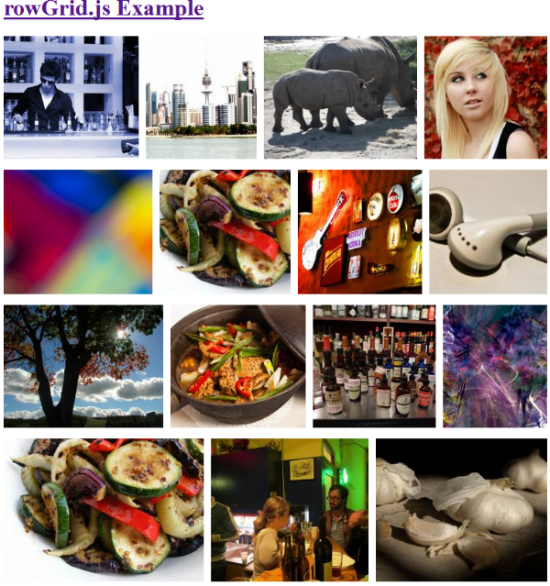 RowGrid.js - rowGrid is a jQuery plugin that takes a collection of photos and arranges it on straight, homogenous rows
