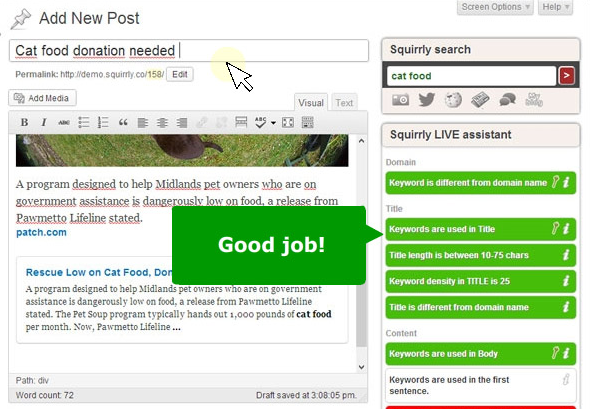 "SEO by SQUIRRLY - When all is done, the Squirrly Live SEO Assistant will give the ""green"" light to publish the article (literally)"