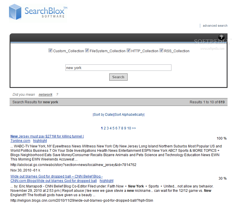 SearchBlox - This is how a default SearchBlox search results page looks like