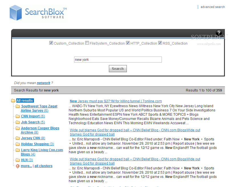 SearchBlox - Showing grouped, clustered results