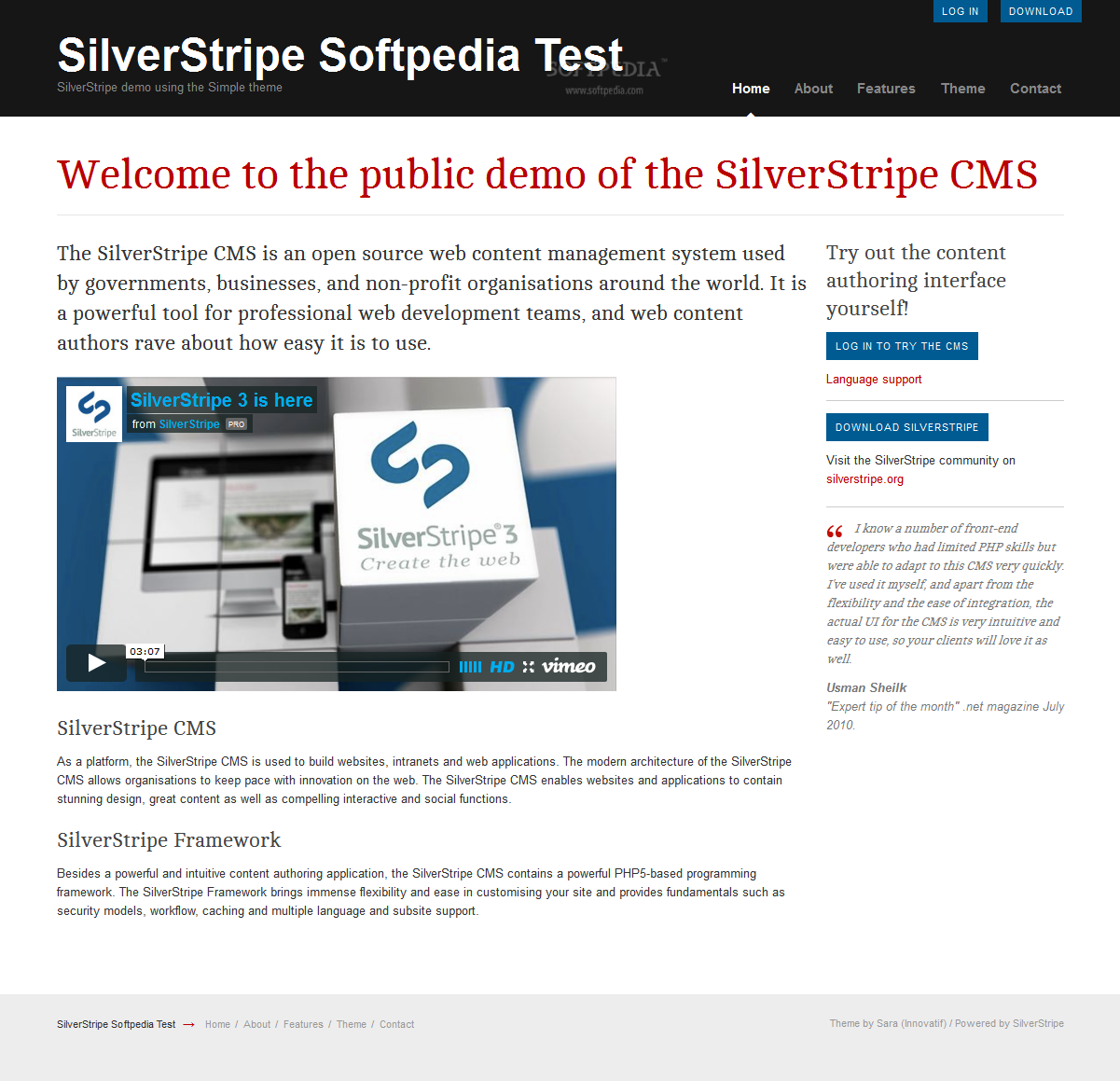 SilverStripe - A default theme is included with any SilverStripe distribution