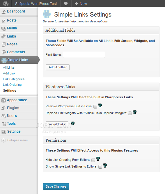 Simple Links - Various links management settings can be managed from the backend